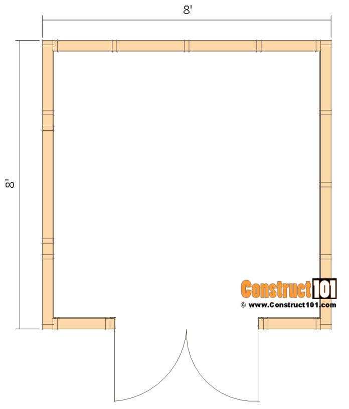 Garden shed plans, 8'x8', floor view.