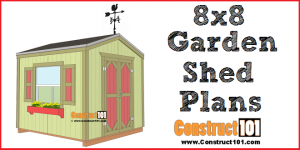 8x8 garden shed plans - PDF download, step-by-step drawings, and material list.