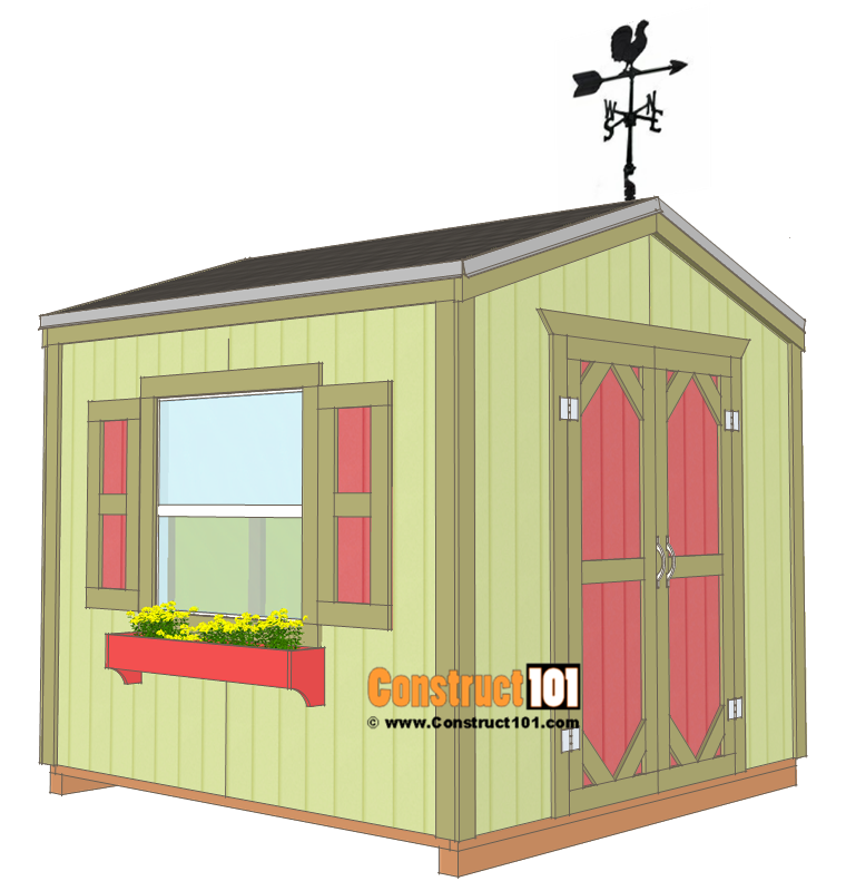 Garden shed plans, 8'x8', free plans from Construct101