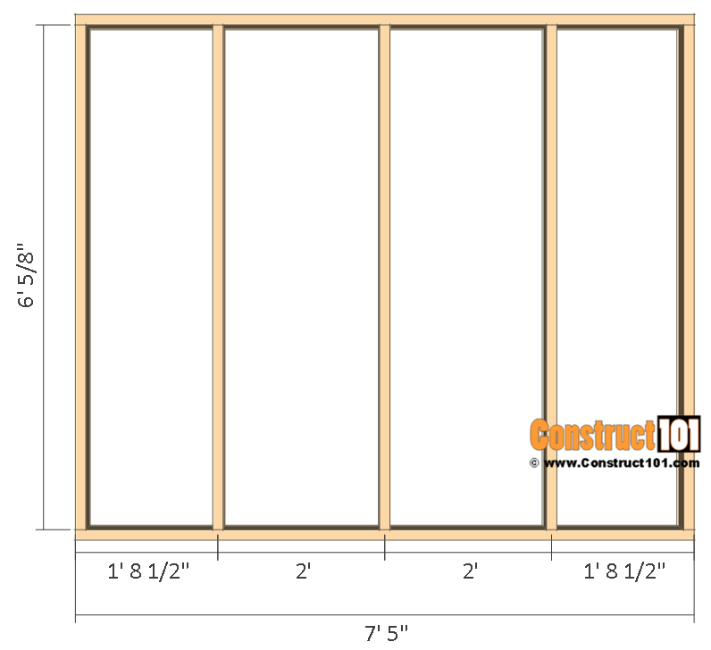 Garden shed plans , 8'x8, front and back wall frame.