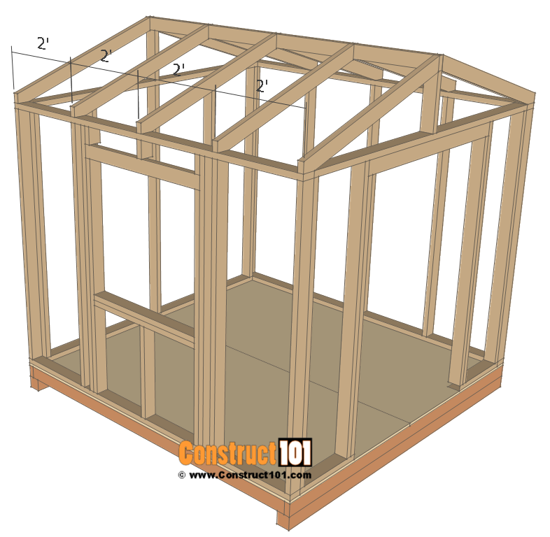 Garden shed plans, 8'x8', rafters 2' on center.