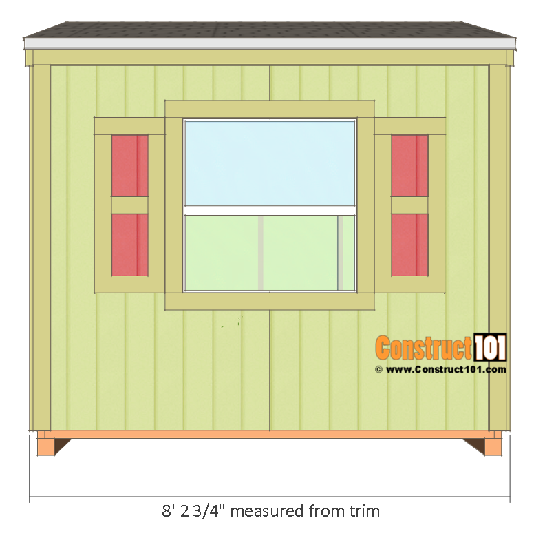 Garden shed plans, 8'x8', side view.