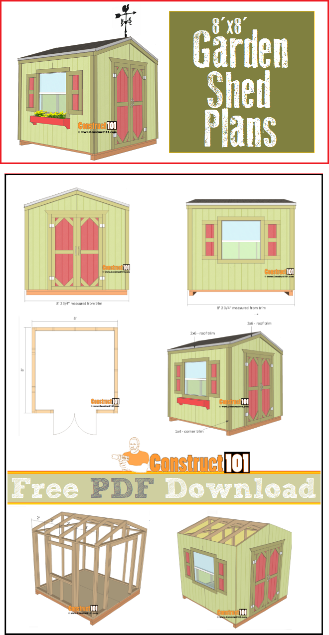 Garden shed plans 8 39 x8 39 pdf download construct101 for Shed plans and material list
