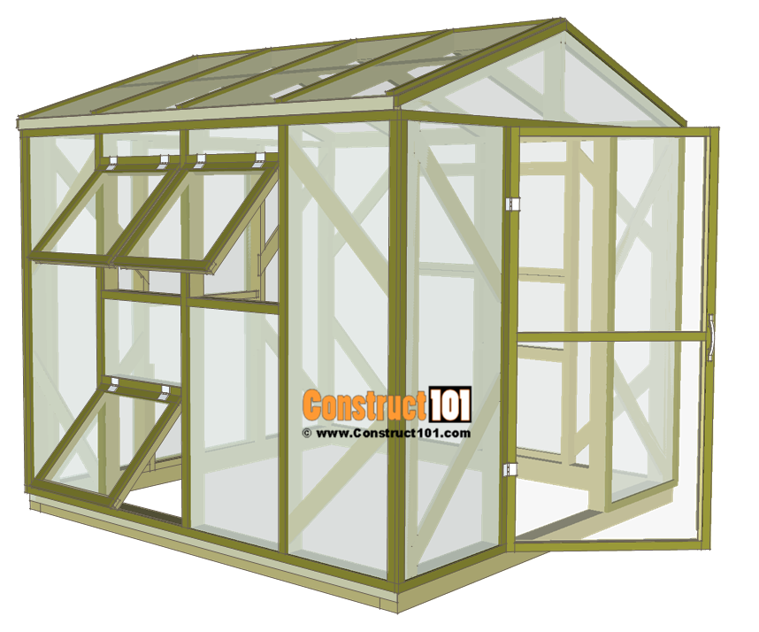 Greenhouse plans, 8'x8', free at Construct101.