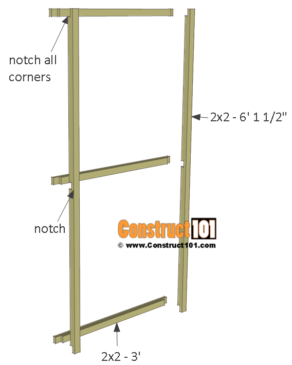 Greenhouse plans, 8'x8', door frame.