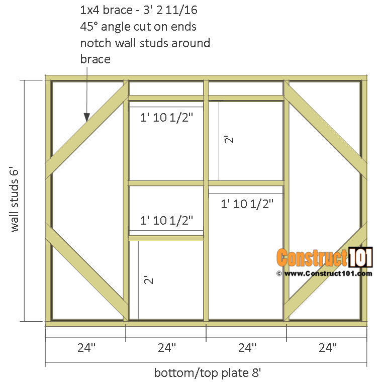 Greenhouse plans, 8'x8', side wall.
