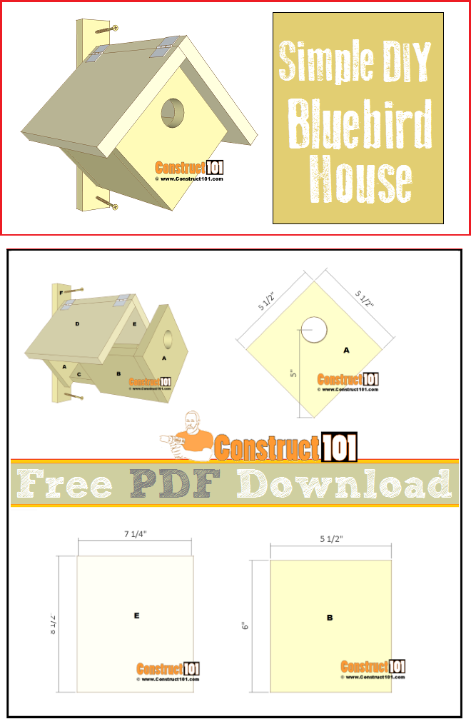 Simple bluebird house plans, free PDF download, illustrations, measurements, and cutting list.