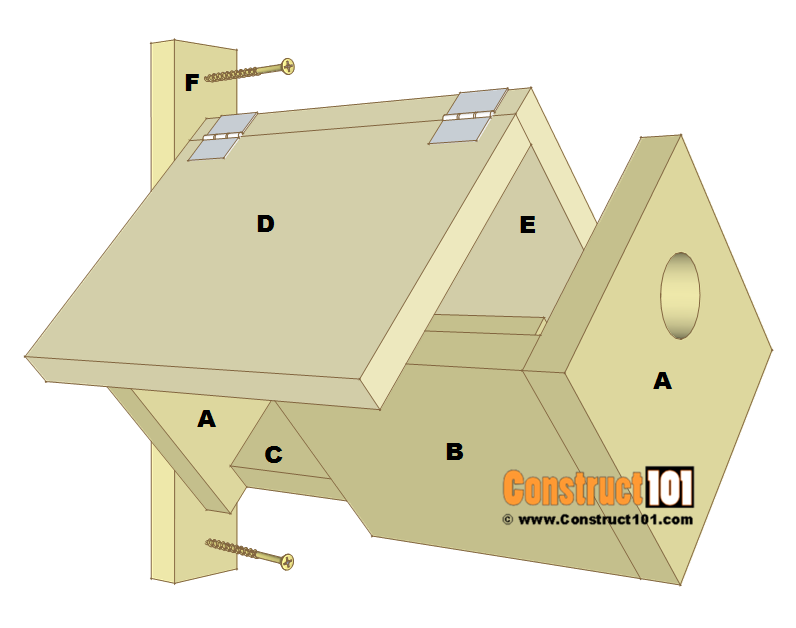 Simple bluebird house plans, parts list.
