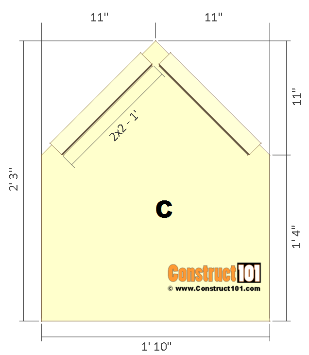 Dog house plans, front and back.