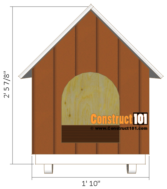 Dog house plans, front view.