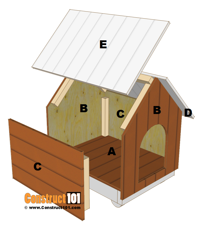 Small dog house plans step by step construct101 for Stepped house plans