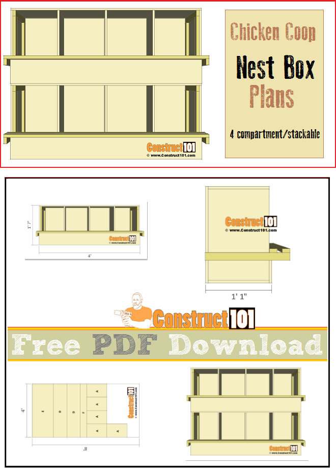Chicken coop nest box plans - 4 compartments / stackable. Free PDF download, shopping list, and cutting list.