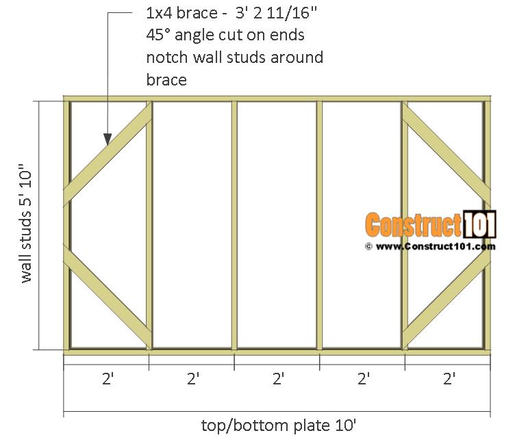 Chicken coop run plans - 10x8 - back wall frame.