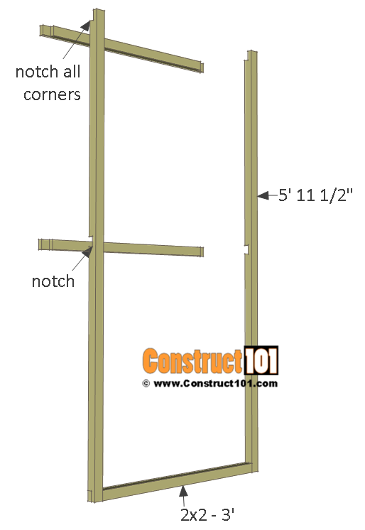 Chicken coop run plans - 10x8 - door frame.