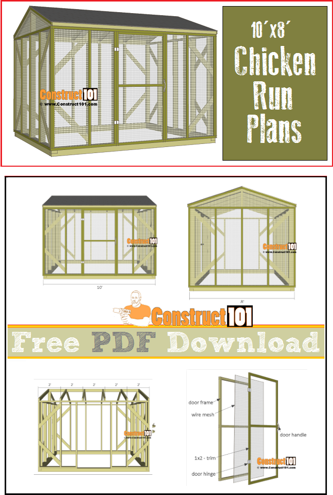 Chicken coop run - 10'x8' - free PDF download, material list with shopping and cutting list.