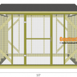 Chicken coop run plans - 10x8 - front view.