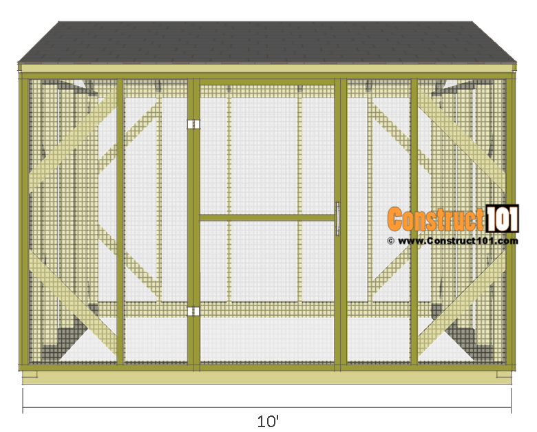 Chicken Coop Run Plans - 10x8 - Step-By-Step - Construct101