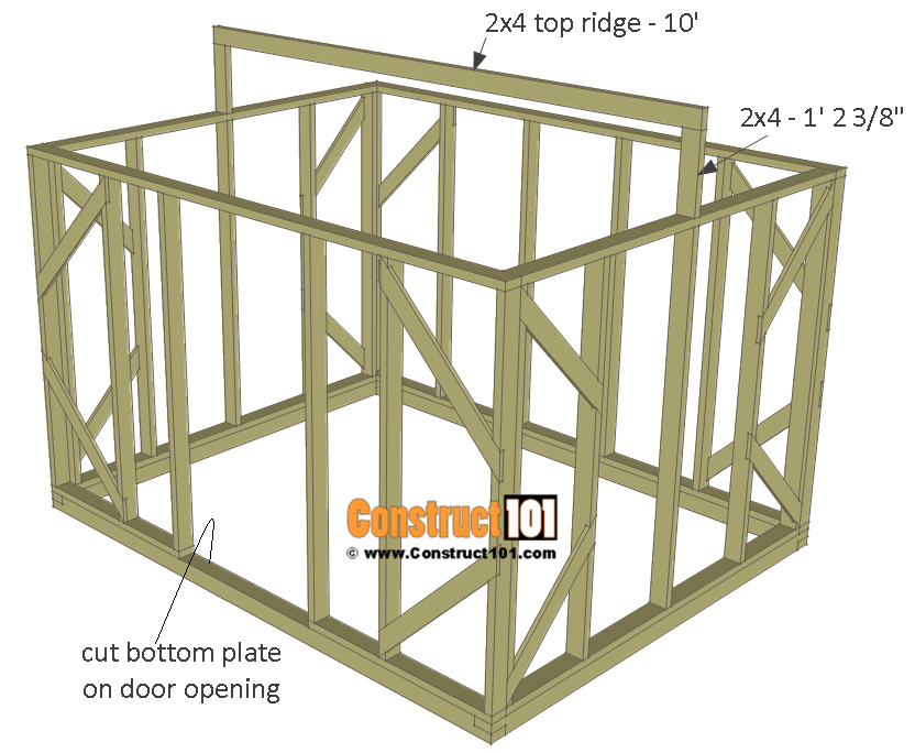 Chicken coop run plans - 10x8 - ridge board.