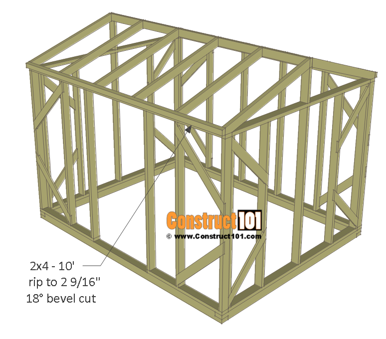 Chicken coop run plans - 10x8 - roof trim.