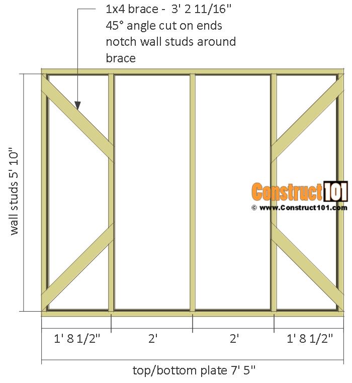 Chicken coop run plans - 10x8 - side wall frame.