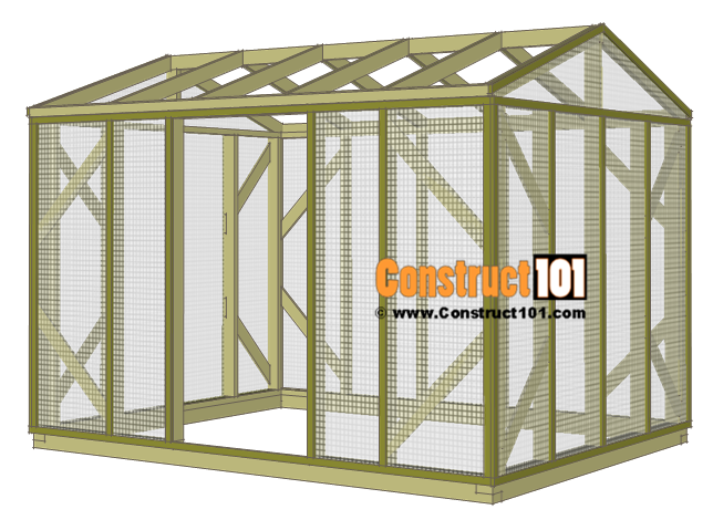 Chicken coop run plans - 10x8 - trim.