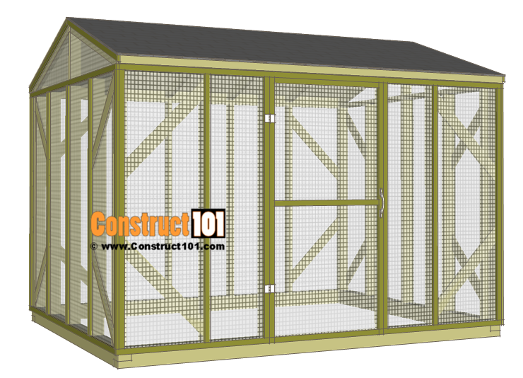 Chicken coop run plans - 10x8 - shingles.