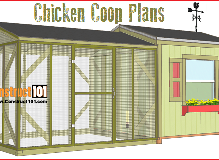 Large chicken coop plans, free PDF download, material list with shopping and cutting list.