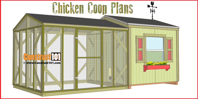 Large chicken coop plans pdf download construct101 for How to build a chicken hutch