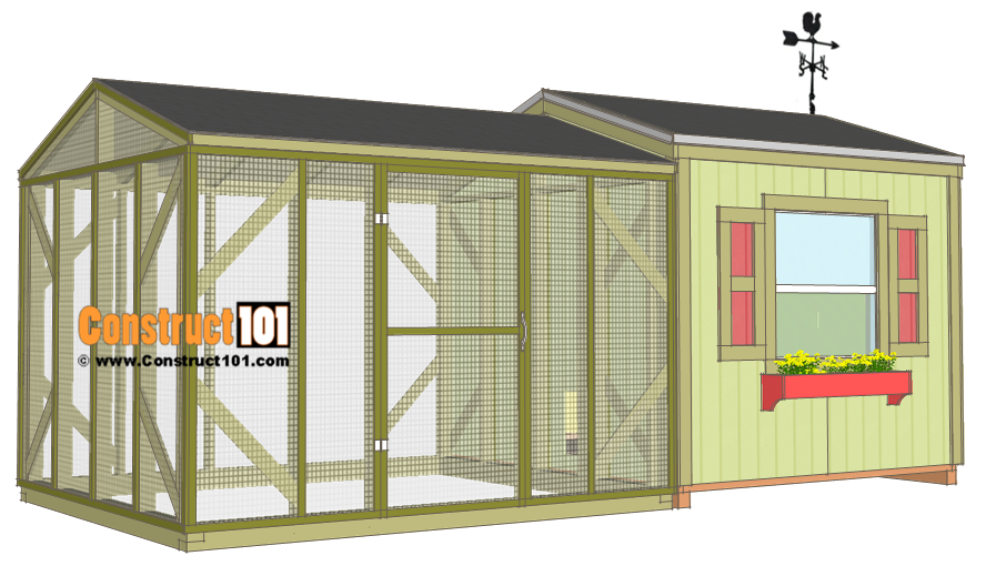 Large 8x8 chicken coop plans with chicken run construct101 for Chicken run plans