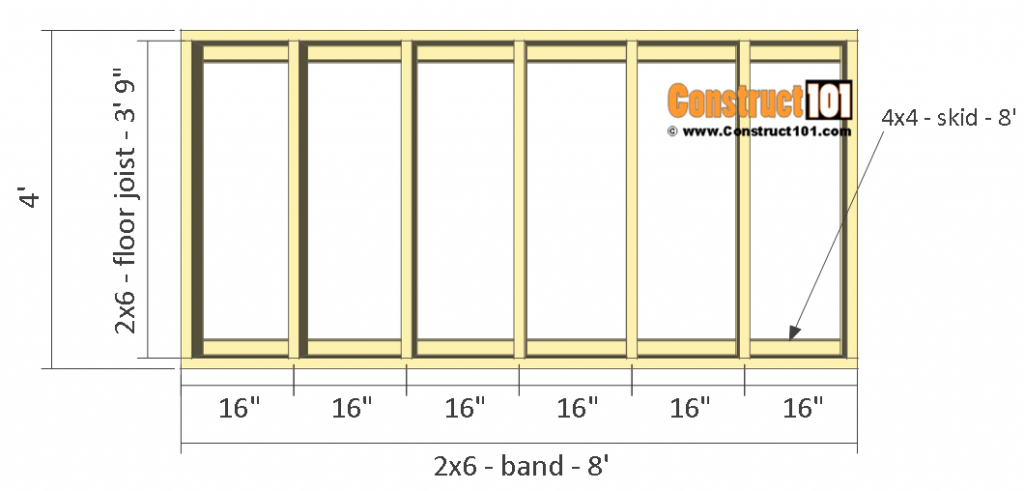 Lean to shed plans - 4'x8' floor frame details.