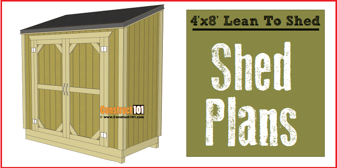 Lean to shed plans 4x8 step by step plans construct101 for Shed building plans pdf