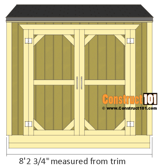 Lean to shed plans, front shed view.