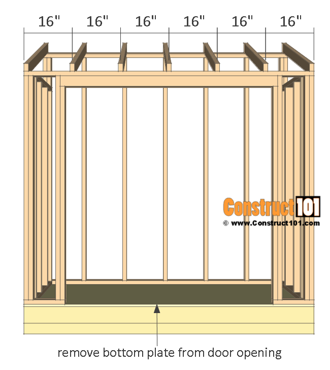"Lean to shed plans, rafters 16"" O.C."