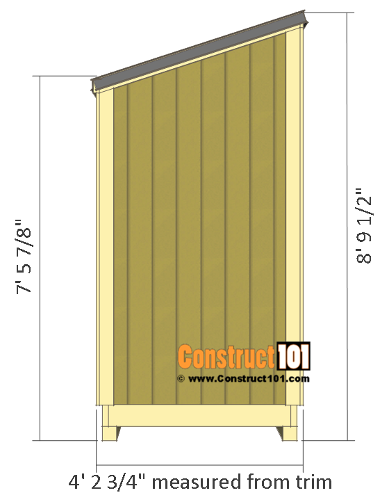 Lean to shed plans - 4'x8' side view of shed.