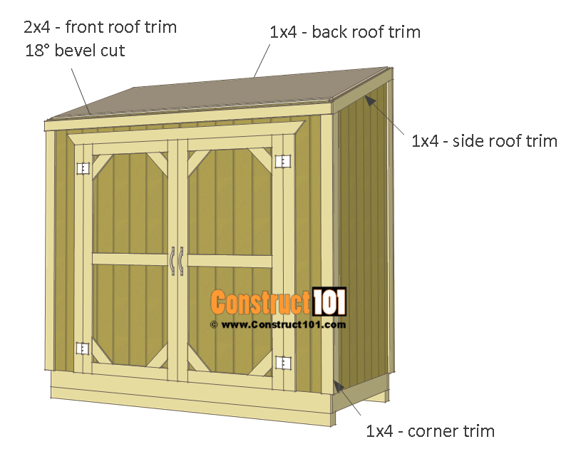 Lean to shed plans trim.  sc 1 st  Construct101 & Lean To Shed Plans - 4x8 - Step-By-Step Plans - Construct101