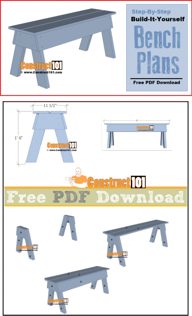 Simple DIY bench, plans include free PDF download, material list, and step-by-step instructions.
