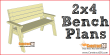 2x4 bench plans, free PDF download, step-by-step details, and material list. DIY projects at Construct101