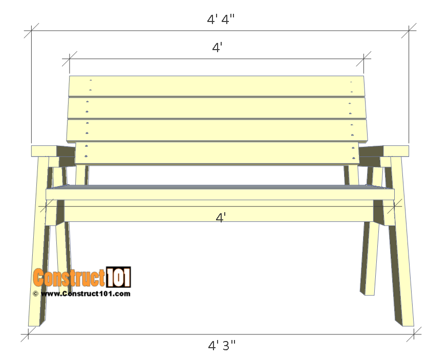 2x4 bench plans, front view.