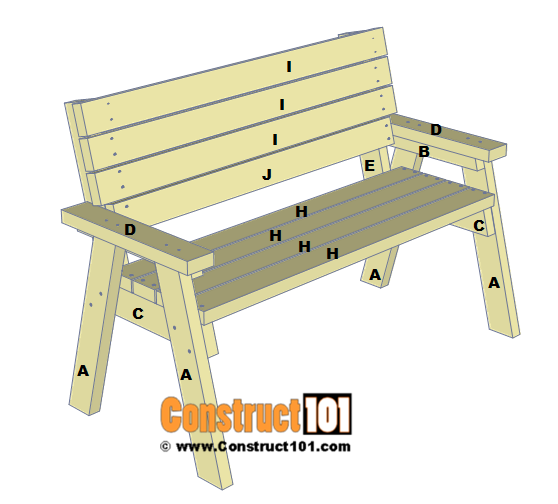 2x4 Bench Plans - Step-By-Step - Material List - Construct101