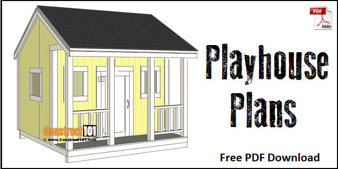 Playhouse Plans - Step-By-Step Plans - Construct101 on barn style sheds with loft, yard sheds with loft, 16x20 cabin plan with loft, 14x16 cabin with a loft, one room cabin with loft, 12x12 cabin with sleeping loft,