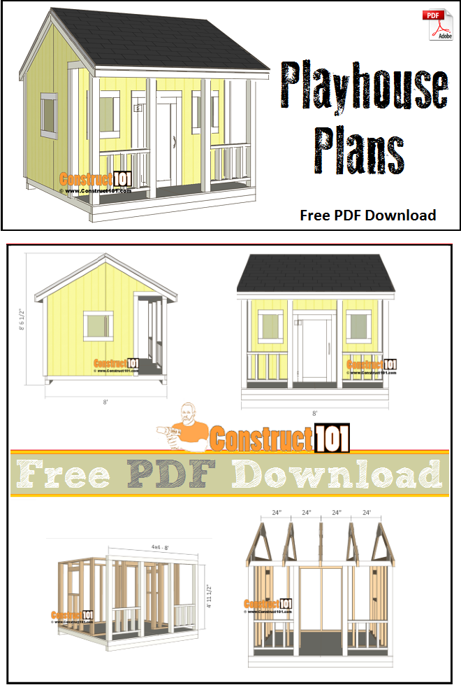Playhouse plans pdf download construct101 for Steps to building a house checklist
