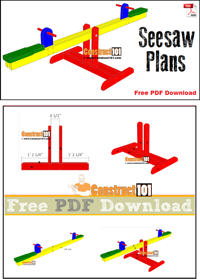 Seesaw plans - free PDF download, material list, and step-by-step instructions.