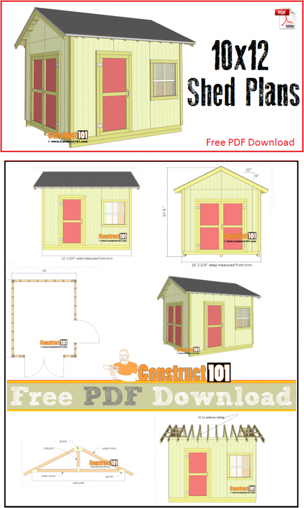 Shed Plans 10x12 Gable Shed Pdf Download Construct101