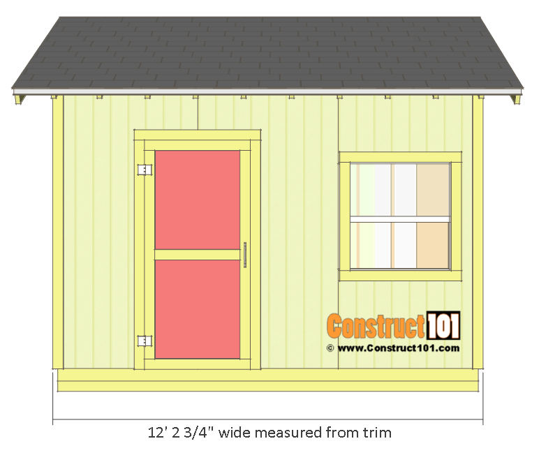 Shed plans 10x12 gable shed - front view.