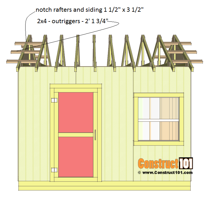 Shed plans 10x12 gable shed - rafters and outriggers.