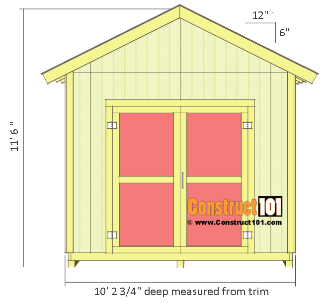 Shed plans 10x12 gable shed - side view.