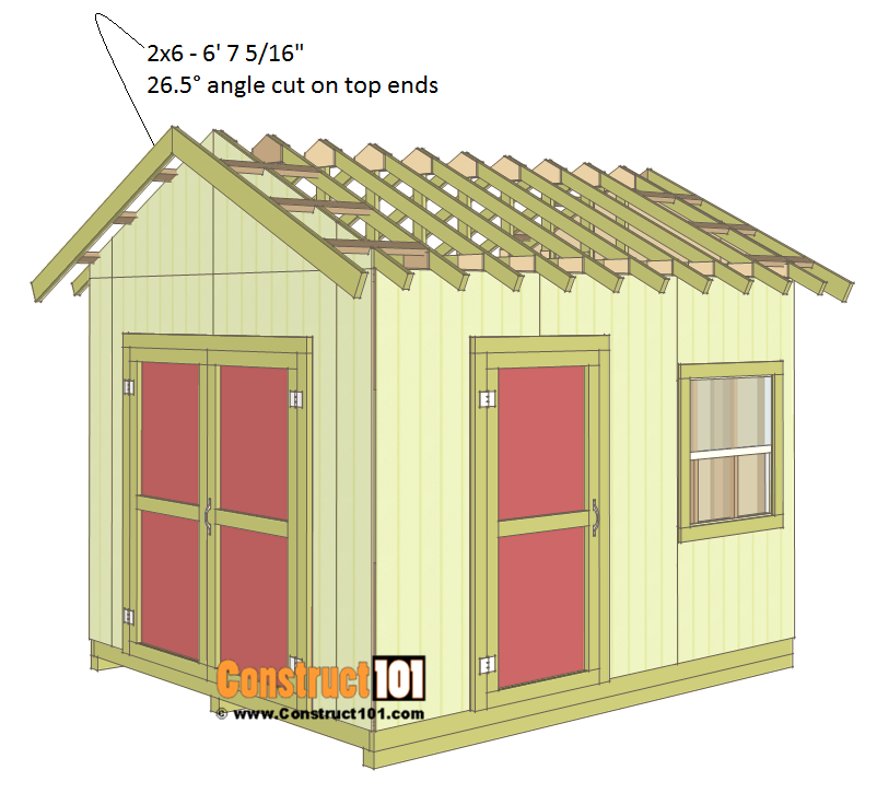Shed plans 10x12 gable shed - roof trim.