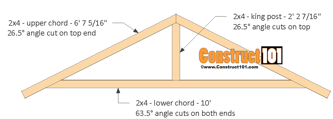 Shed plans 10x12 gable shed step by step construct101 for Premade roof trusses