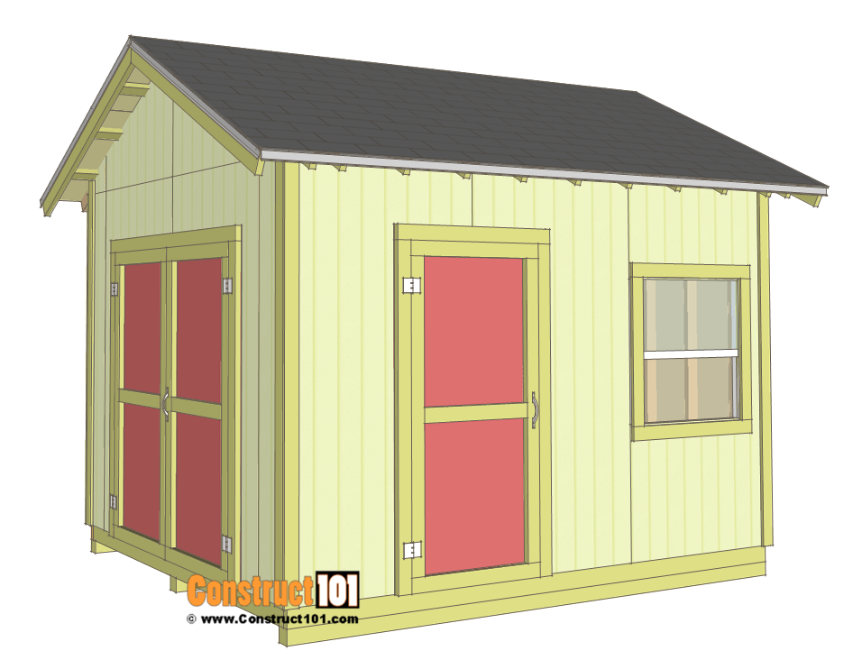 Shed plans 10x12 gable shed step by step construct101 for House plans with material list