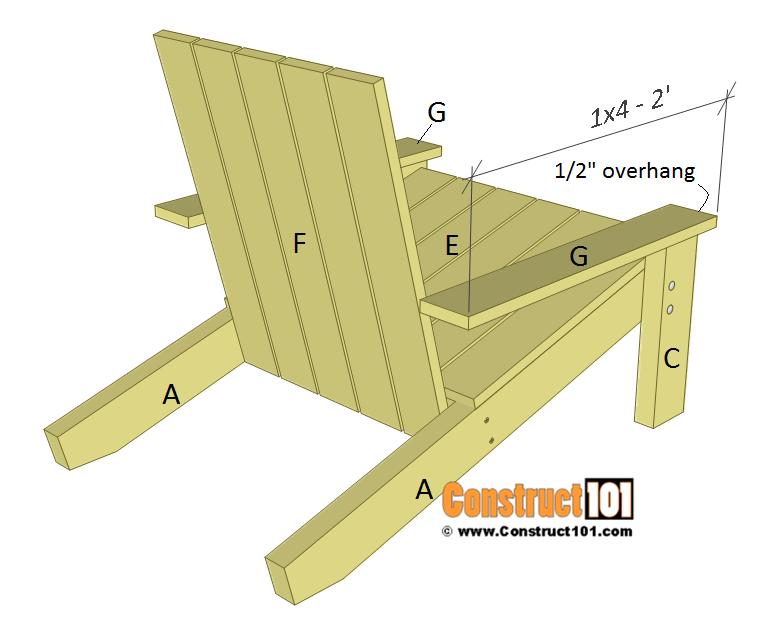 Simple Adirondack chair plans, arm rest.